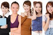 Asian smiling woman, closeup portrait collection.