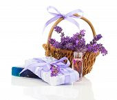 Natural Handmade Lavender Soap And Oil With Fresh Lavender On White Background