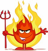 Evil Fire Cartoon Character Holding Up A Pitchfork In Front Of Flames