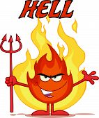 Evil Fire Cartoon Character Holding Up A Pitchfork In Front Of Flames With Text Hell