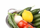 Vegetables in colander. Close up.