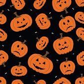 Halloween Seamless Pattern With Pumpkin On Dark Background.