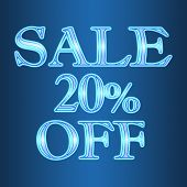 Sale 20 Twenty Percent Off Neon Isolated On Blue Background