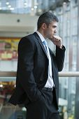 Businessman with serious expression looking off camera
