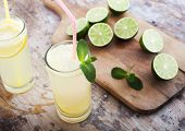 Fresh limes, mint and lemonade on wooden background