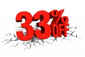 3D Render Red Text 33 Percent Off On White Crack Hole Floor.