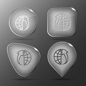 Globe and array up. Glass buttons. Vector illustration.