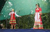 Mstyora,Russia-August 16,2014: Young girls in national suit emerge on scene at day of the city