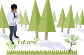 The word future and unsmiling businessman holding glasses against forest with trees