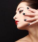Woman Perfect Makeup Profile With Black Nails Polish