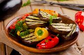 Grilled Healthy Vegetables  On   Wooden  Plate.