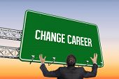 The word change career and gesturing businessman against purple and orange sky