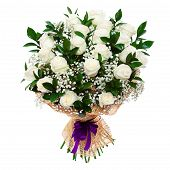 Gorgeous White Roses Bouquet Isolated On White
