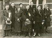 GERMANY, CIRCA THIRTIES: Vintage photo of family in winter coats