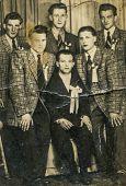 GERMANY, APRIL 25, 1954: Vintage photo of groom with his groomsmen