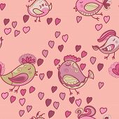 Valentine Pattern With Hearts, Birds