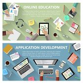 Modern flat design online education and app development concept  for e-business, web sites, mobile applications, banners, corporate brochures, book covers, layouts etc. Vector eps10 illustration