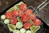 Sliced Vegetables On Barbecue Grill