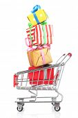 Small shopping cart with present boxes isolated on white