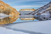 image of collins  - mountain lake  in winter scenery - JPG