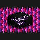 vector typographic illustration of handwritten St. Valentines  Day retro label on the multicolored g