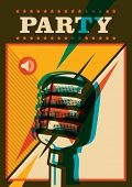 Party poster with retro microphone. Vector illustration.