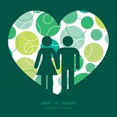 Vector abstract green circles couple in love silhouettes frame pattern invitation greeting card temp