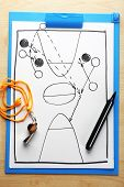 Scheme basketball game on clip board paper with marker and wooden table background