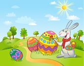 Happy Easter greeting card with Cute Easter Bunny