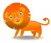 Cute funny smiling lion,  cartoon vector illustration