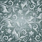 Floral seamless background in grey color with luxury flowers