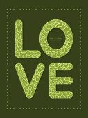 Vector abstract green natural texture love text frame pattern invitation greeting card template