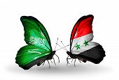 Two Butterflies With Flags On Wings As Symbol Of Relations Saudi Arabia And Syria