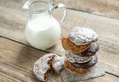 Glazed Gingerbread Cakes With Pitcher Of Milk