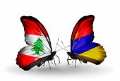 Two Butterflies With Flags On Wings As Symbol Of Relations Lebanon And Armenia