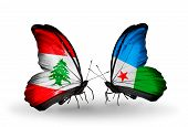 Two Butterflies With Flags On Wings As Symbol Of Relations Lebanon And Djibouti