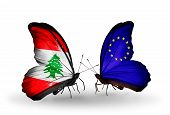 Two Butterflies With Flags On Wings As Symbol Of Relations Lebanon And European Union