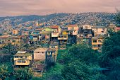 image of overpopulation  - Panoramic view of shabby houses at the edge of Valparaiso - JPG