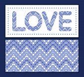 Vector purple drops chevron love text frame pattern invitation greeting card template