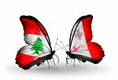 Two Butterflies With Flags On Wings As Symbol Of Relations Lebanon And Malta