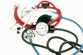 Blood Pressure Meter And Stethoscope Red And Blue
