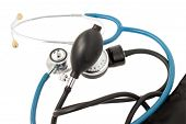 Blood Pressure Meter And Stethoscope Blue