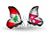 Two Butterflies With Flags On Wings As Symbol Of Relations Lebanon And Nepal