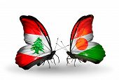 Two Butterflies With Flags On Wings As Symbol Of Relations Lebanon And Niger