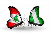 Two Butterflies With Flags On Wings As Symbol Of Relations Lebanon And Nigeria