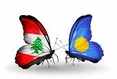 Two Butterflies With Flags On Wings As Symbol Of Relations Lebanon And Palau