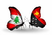 Two Butterflies With Flags On Wings As Symbol Of Relations Lebanon And Papua New Guinea