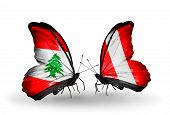 Two Butterflies With Flags On Wings As Symbol Of Relations Lebanon And Peru