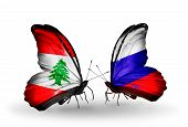 Two Butterflies With Flags On Wings As Symbol Of Relations Lebanon And Russia
