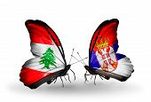 Two Butterflies With Flags On Wings As Symbol Of Relations Lebanon And Serbia